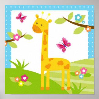 Giraffe Jungle Animal Nursery Wall Art Print
