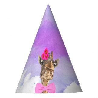 Giraffe jungle cute animal watercolor party hat