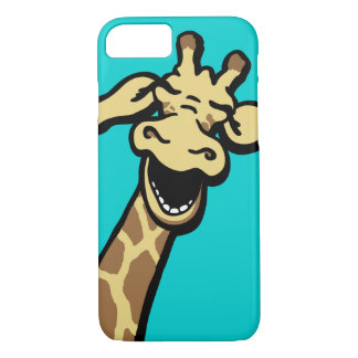 Giraffe laughing graphic teal iPhone case