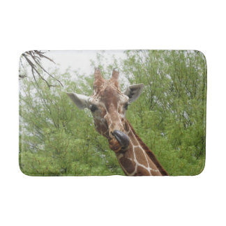 Giraffe Licking Its Nose Bath Mat