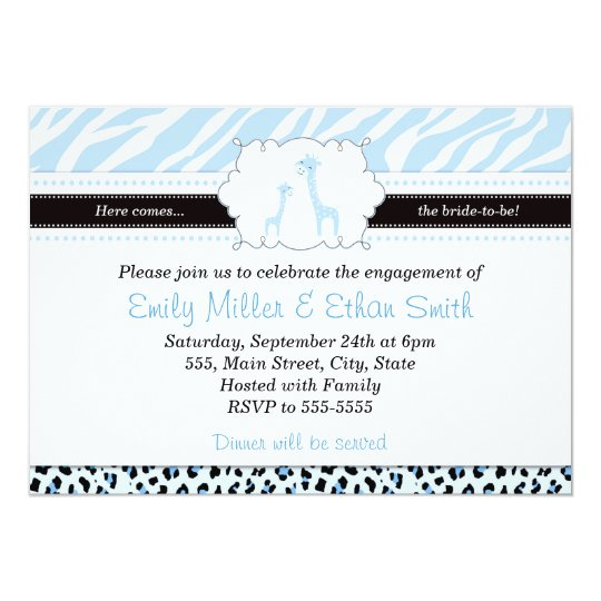 Giraffe Light Blue Engagement Invitation