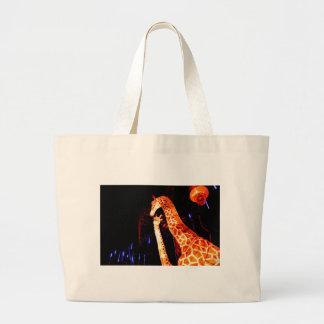 Giraffe light up night photography festival art large tote bag