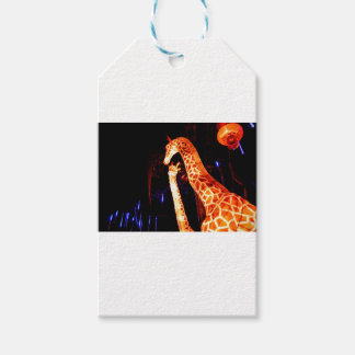 Giraffe light up night photography festival art pack of gift tags