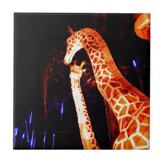 Giraffe light up night photography festival art tile