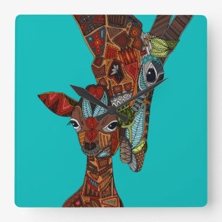 giraffe love turquoise square wall clock