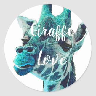 Giraffe Love Typography or Your Favorite Quote Classic Round Sticker