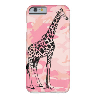 Giraffe Lover Animal On Pink Camo Girly Tall Barely There iPhone 6 Case