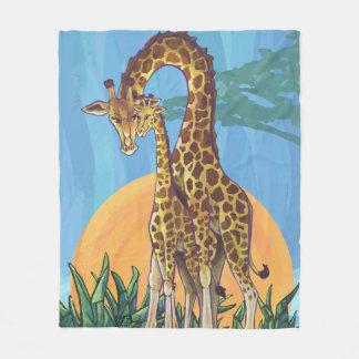 Giraffe Mama and Baby Fleece Blanket