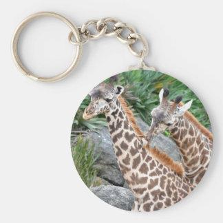 Giraffe Massage Basic Round Button Keychain