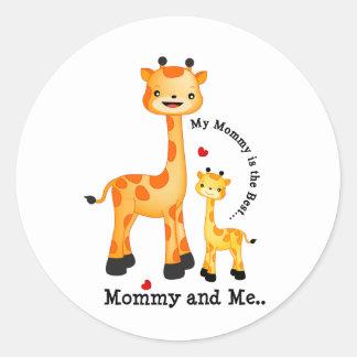 Giraffe Mum and Calf Round Sticker