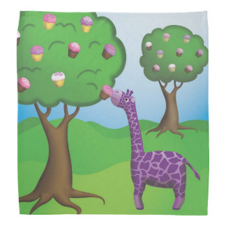 Giraffe Munching Cupcake Bandana