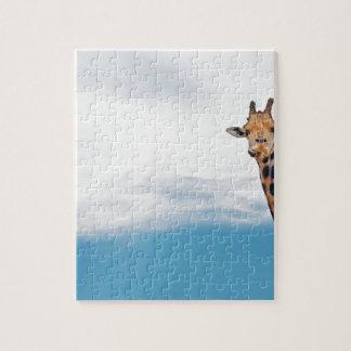 Giraffe neck and head against the clear blue sky jigsaw puzzle