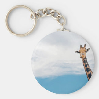 Giraffe neck and head against the clear blue sky keychain