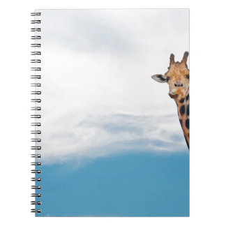 Giraffe neck and head against the clear blue sky notebook
