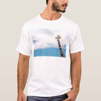 Giraffe neck and head against the clear blue sky T-Shirt