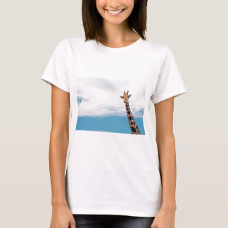 Giraffe neck and head against the clear blue sky T-Shirt