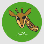 giraffe, Nola Round Stickers