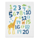 Giraffe number nursery wall art print
