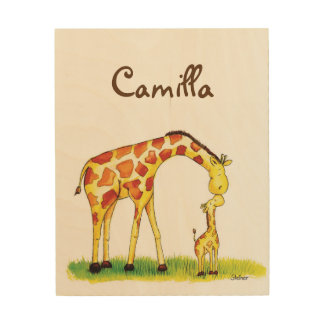 Giraffe Nursery Art - Personalize with name Wood Canvases