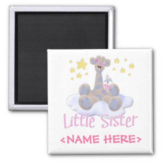 Giraffe on a Cloud Little Sister Square Magnet