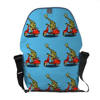 Giraffe on a red moped messenger bag