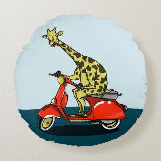 Giraffe on a retro moped round pillow