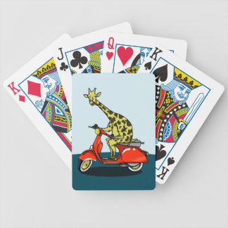 Giraffe on a vintage moped bicycle playing cards