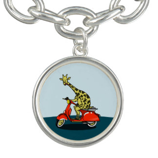 giraffe on a vintage scooter charm bracelet
