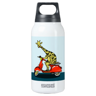 giraffe on a vintage scooter insulated water bottle
