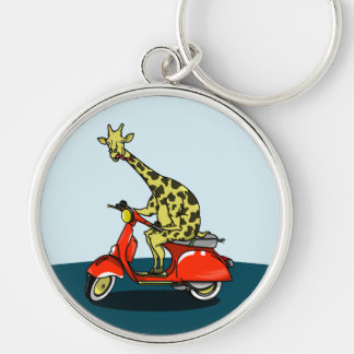 giraffe on a vintage scooter Silver-Colored round keychain