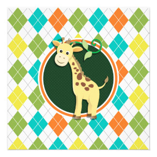 Giraffe on Colorful Argyle Pattern Personalized Announcements