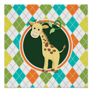 Giraffe on Colorful Argyle Pattern Poster