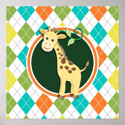 Giraffe on Colorful Argyle Pattern Poster