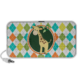 Giraffe on Colorful Argyle Pattern Portable Speakers
