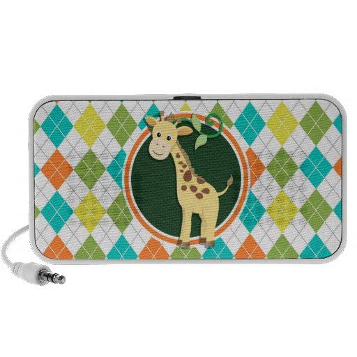 Giraffe on Colorful Argyle Pattern Portable Speakers