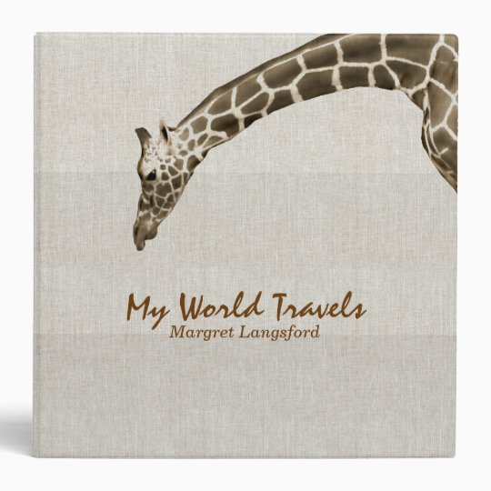 Giraffe on Linen Look Travel Photo Album Custom Vinyl Binders