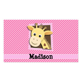 Giraffe on Pink & White Stripes Double-Sided Standard Business Cards (Pack Of 100)