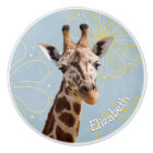 Giraffe on sunny blue sky background childs name ceramic knob