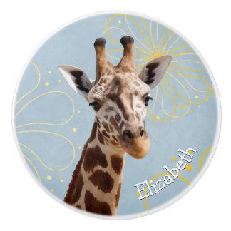 Giraffe on sunny blue sky background childs name ceramic knob
