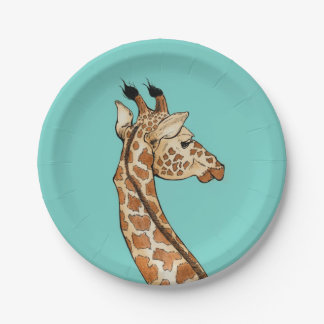 Giraffe on teal background 7 inch paper plate