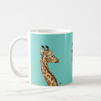 Giraffe on teal background coffee mug