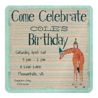 GIRAFFE & OWL  Birthday Invitation