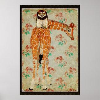 Giraffe & Owl Hawk Art Poster