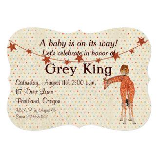 "Giraffe & Owl Polkadot Baby Invitation 5"" X 7"" Invitation Card"