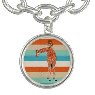 Giraffe & Owl  Stripes Charm Bracelet