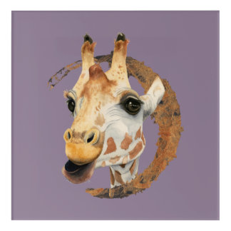 Giraffe Painting with Faux Gold Circle Frame Acrylic Wall Art