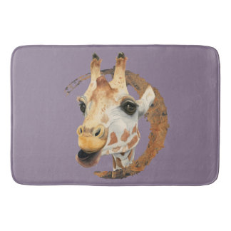 Giraffe Painting with Faux Gold Circle Frame Bath Mat