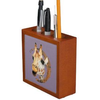 Giraffe Painting with Faux Gold Circle Frame Desk Organizer