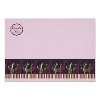 "Giraffe Parad Children's Personalized Stationery 3.5"" X 5"" Invitation Card"