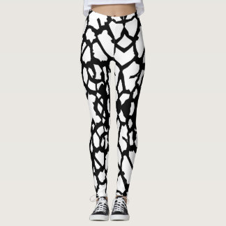 Giraffe Pattern Black White Leggings a-1